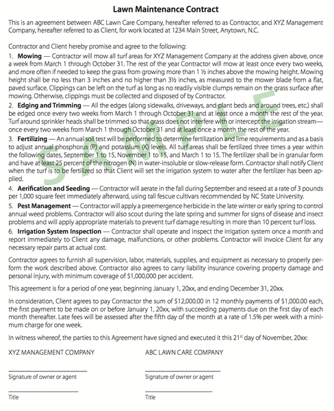 Sample Lawn Care Contract