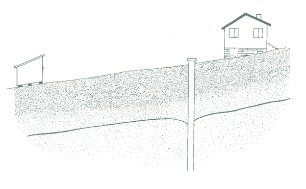 Figure 1. Storage shed placed a sufficient distance from well.