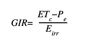 Figure D. Irrigation system efficiency formula.