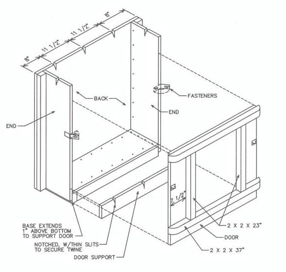 Diagram showing how to install the door support and door to box