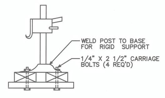 Diagram showing how to bolt the jack base to the press head