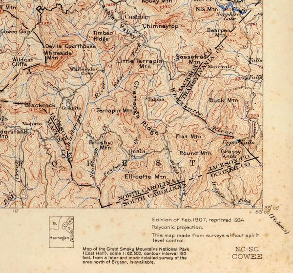 Feb. 1907 contour map of Great Smoky Mountains National Park