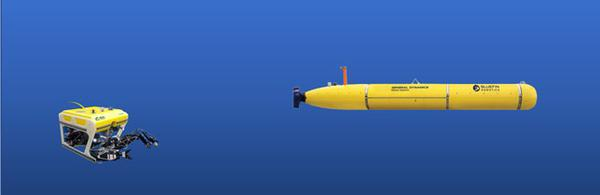 Photo of UUV including ROVs (left) and AUVs (right)