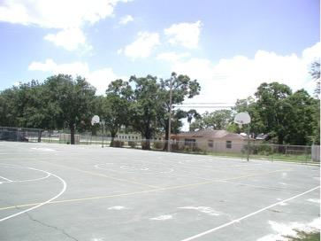 Large basketball courts.