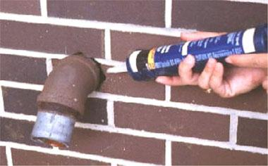 Caulking gaps in foundations and around penetrations