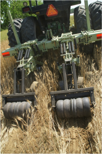 Strip-till equipment in field