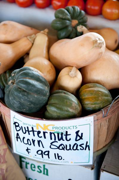 squash display at local farmers market
