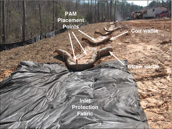 A photo of a jute fabric lined ditch with check dams.