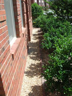 "Use a gravel border 6-12"" out from foundation walls to"