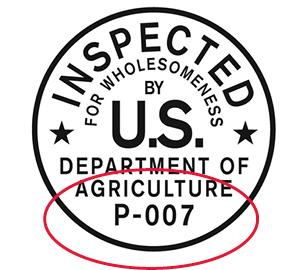 USDA inspection legend.