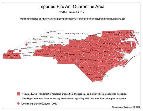 Map of the North Carolina fire ant quarantine areas.