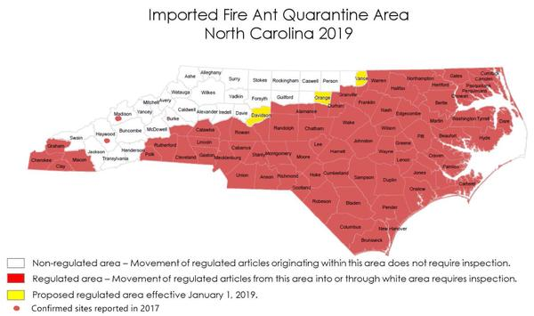 Map showing 75 North Carolina counties within the quarantine.