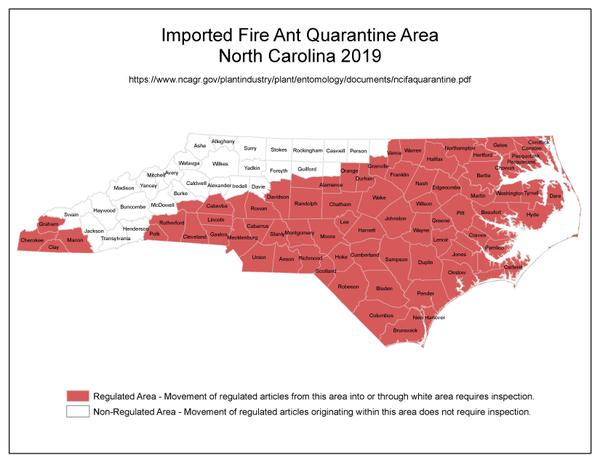 Map showing 75 North Carolina counties within the quarantine
