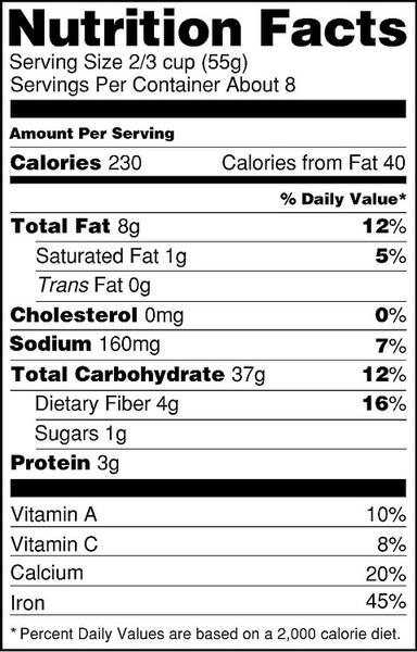 Nutritional facts panel example.