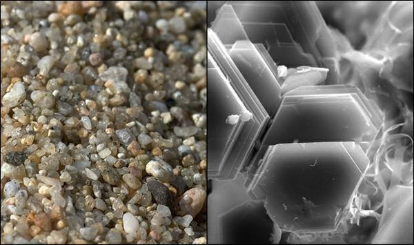 sand and clay microscopic image