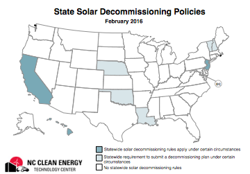 Map showing states with decommissioning policies
