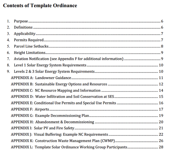 Table of Contents from Template Solar Ordinance