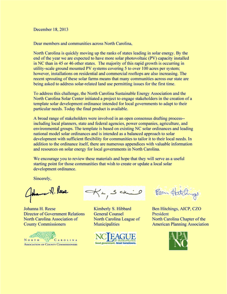Letter accompanying Template Solar Ordinance