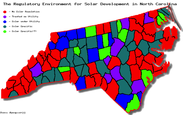 Map of NC solar regulatory development