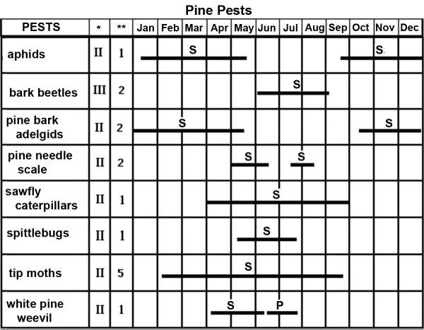 The Pine Pest Management Calendar gives appro