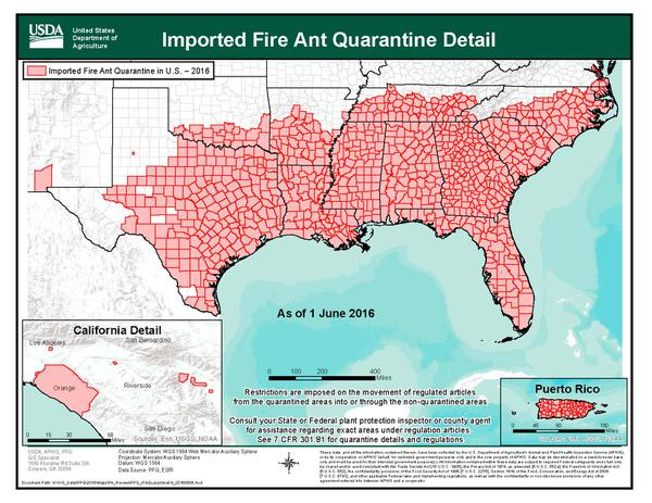 Map of the distribution of fire ants in the United States
