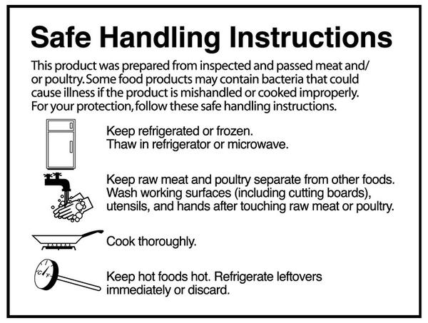 Safe handling instructions example.