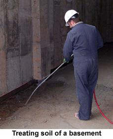 Figure 3. Treating soil of a basement.