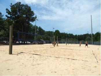Large volleyball courts.